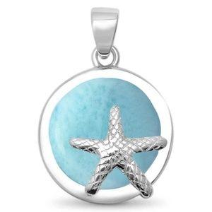 natural larimar round starfish